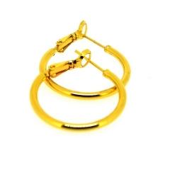 DQ Metaal, oorbellen, creolen, goud plated, 26 mm (1 paar)
