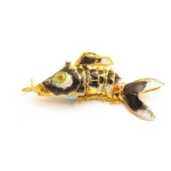 Hanger, cloissone, vis, donkerblauw, 46 mm (1 st.)