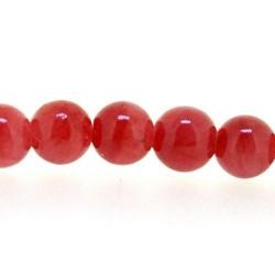 Gekleurd steen kraal, rond, rood, 5 mm (streng)
