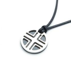 Ketting, zwarte veter met zilveren hanger (1 st.)