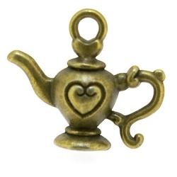 Metaal, bedel, antique goud, koffie- /theepotje, hartje, 18 x 21 mm (3 st.)