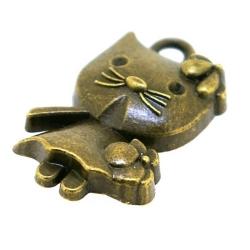 Metaal, bedel, antique goud, Hello Kitty, 22 mm (3 st.)