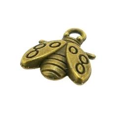 Metaal, bedel, antique goud, bijtje, 14 mm (5 st.)