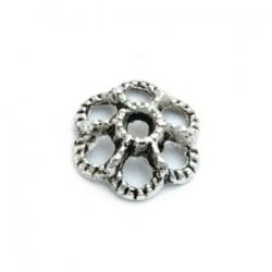 Metaal, kapje, bloem opengewerkt, zilver, 10 mm (10 st.)