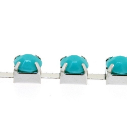 Cupchain zilver strass turquoise 6mm (1 mtr.)