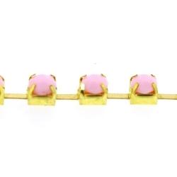 Cupchain goud strass lichtroze 3mm (2 mtr.)