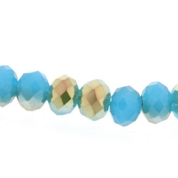 Facet, kraal, donut, duo-tone, turquoise/goud, 3 x 4 mm (streng)
