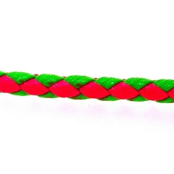 Gevlochten kunstleer, rond, neonroze/neongroen, 4 mm (1 mtr.)