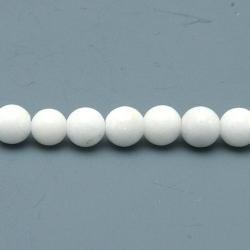 Gekleurd steen kraal, rond, wit, 4 mm (streng)