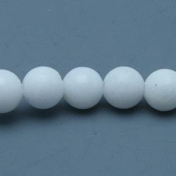 Gekleurd steen kraal, rond, wit, 6 mm (streng)