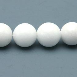 Gekleurd steen kraal, rond, wit, 8 mm (streng)