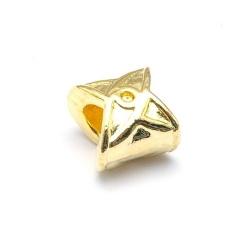 Leerschuiver, DQ, goud, 9 x 4 mm, rijggat 4 mm (5 st.)