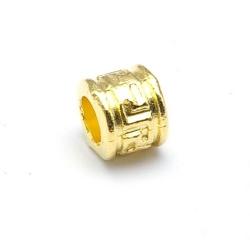 Leerschuiver, DQ, goud, 6 x 8 mm, rijggat 4 mm (5 st.)