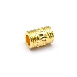 Leerschuiver, DQ, goud, 9 x 6 mm, rijggat 4 mm (5 st.)