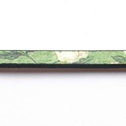 Natuurleer plat bloem groen/wit 5mm (85 cm)