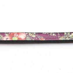 Natuurleer plat bloem paars/roze/groen 5mm (1 meter)