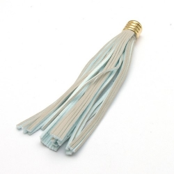 Kwastje PU leer grijs/lichtblauw goud 8 cm (1 st.)