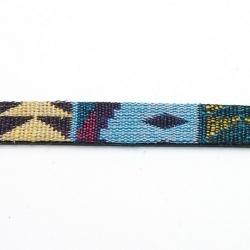 Aztec koord plat blauw 10 mm (1 mtr.)