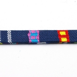 Aztec koord plat blauw/rood 10 mm (1 mtr.)