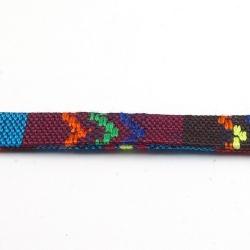 Aztec koord plat paars/blauw 10 mm (1 mtr.)