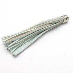 Kwastje PU leer grijs/lichtblauw zilver 8 cm (1 st.)