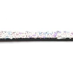 Natuurleer plat wit/lila 5mm (1 mtr.)