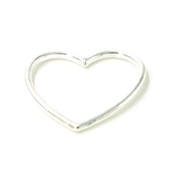 DQ metaal hanger open hart zilver 15mm (5 st.)